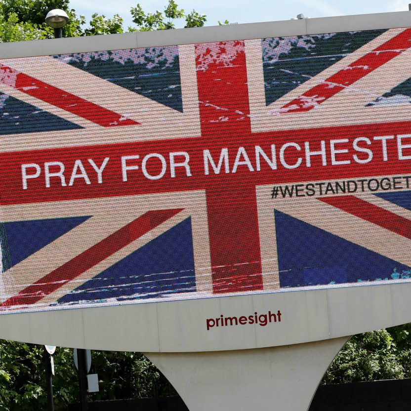 The Manchester Memorial sign following the terrorist attack at the O2, featuring Ariana Grande