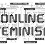 "Concept art of Online Feminism, Motherboard displaying computer script ""Online Feminism"""